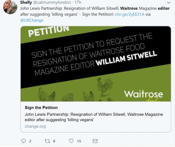 "Outrage after Waitrose food editor's rant about ""killing vegans"" and ""force-feeding them meat"""