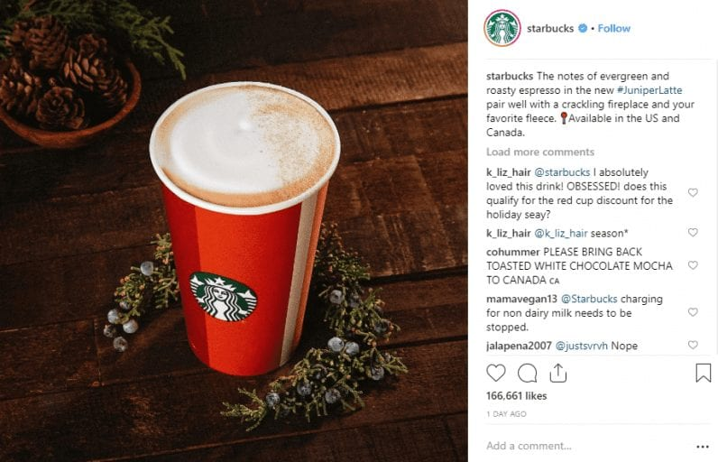 Starbucks Launches Super-Christmassy Juniper Latte – And It Can Be Vegan