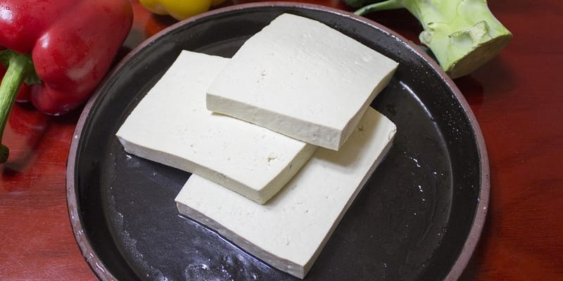Slices of tofu in a pan