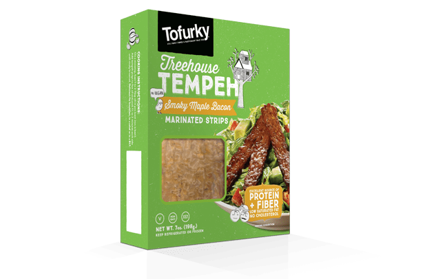 Smoky Maple Bacon Marinated Strips made from tempeh from tofurky