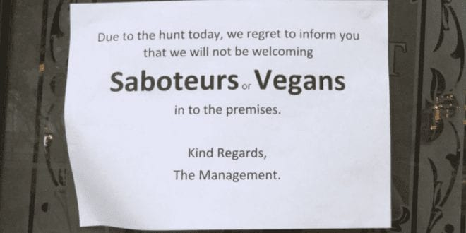 Outrage As Pub Bans Vegans During Boxing Day Hunt Protests