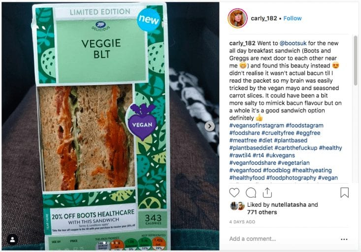 Boots launches on-the-go vegan options including plant-based BLT
