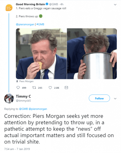 Piers Morgan mocked after eating vegan sausage roll and 'pretending to throw up'