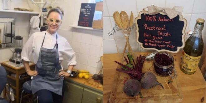 Vegan chef feeds customers' hair with bananas and beetroot