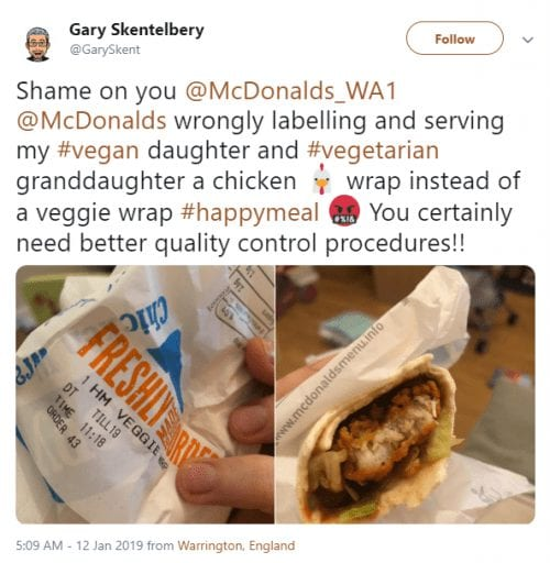 Vegans Left Disgusted As McDonald's Repeatedly Serves Chicken In Its Veggie Wrap