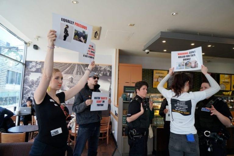 Vegan Activists Storm Starbucks Chanting 'Not Your Mum, Not Your Milk!'1
