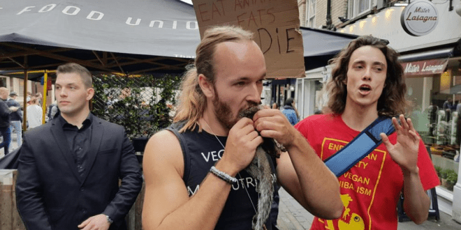 Carnivore mocked for accidentally promoting veganism after eating a raw squirrel at a vegan market