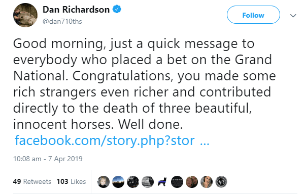 Grand national branded 'disgusting' after three horses die in this year's races