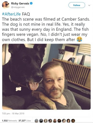 Ricky Gervais keeps sharing powerful messages promoting compassion for animals