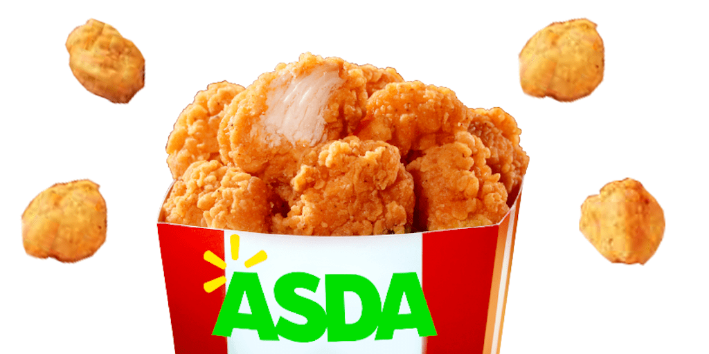 Plant based KFC-style popcorn chicken pieces at Asda