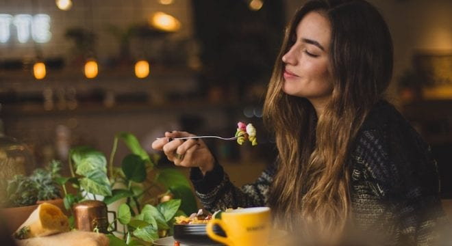 girl eating plant based food