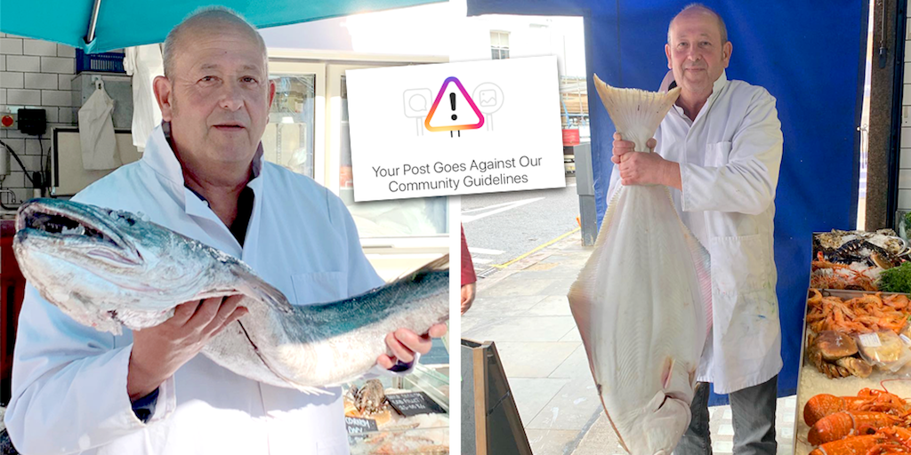 Fishmonger furious after Instagram posts of dead fish flagged as 'disturbing material'