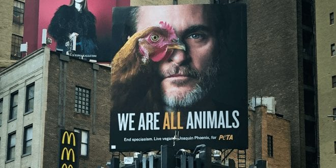 Joaquin Phoenix features on a vegan billboard demanding an to end speciesism