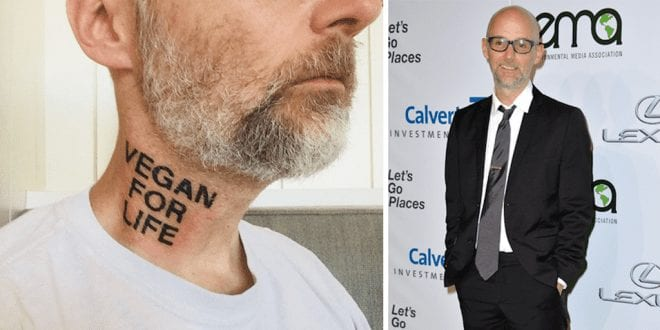 Moby has new 'Vegan For Life' tattoo on his neck