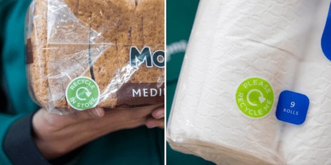 New Morrisons labels tell customers to recycle plastics in store