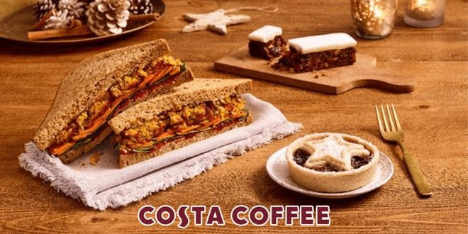 Costa Coffee launches vegan Christmas menu