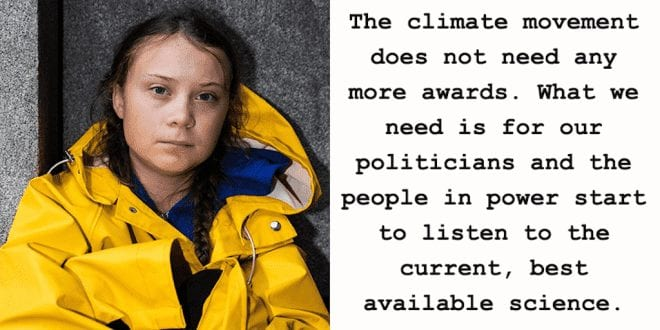 Greta Thunberg rejects environmental prize because The climate doesn't need awards