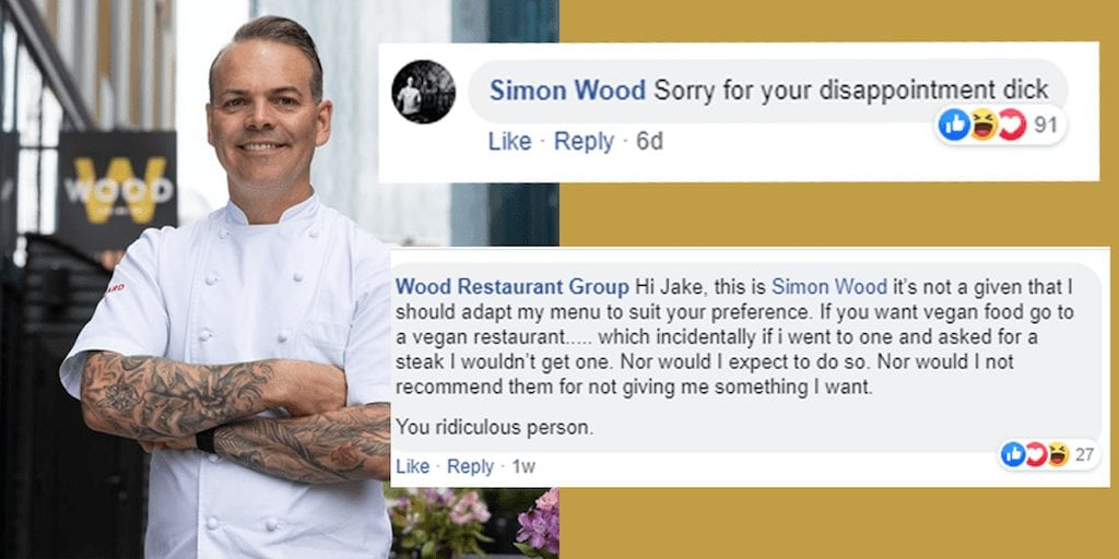 Masterchef winner refuses to serve vegan food and abuses customer on Facebook