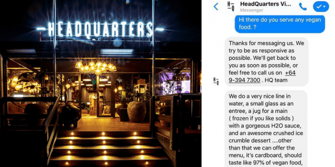 Restaurant mocks vegan and offers her cardboard and pet food for dinner
