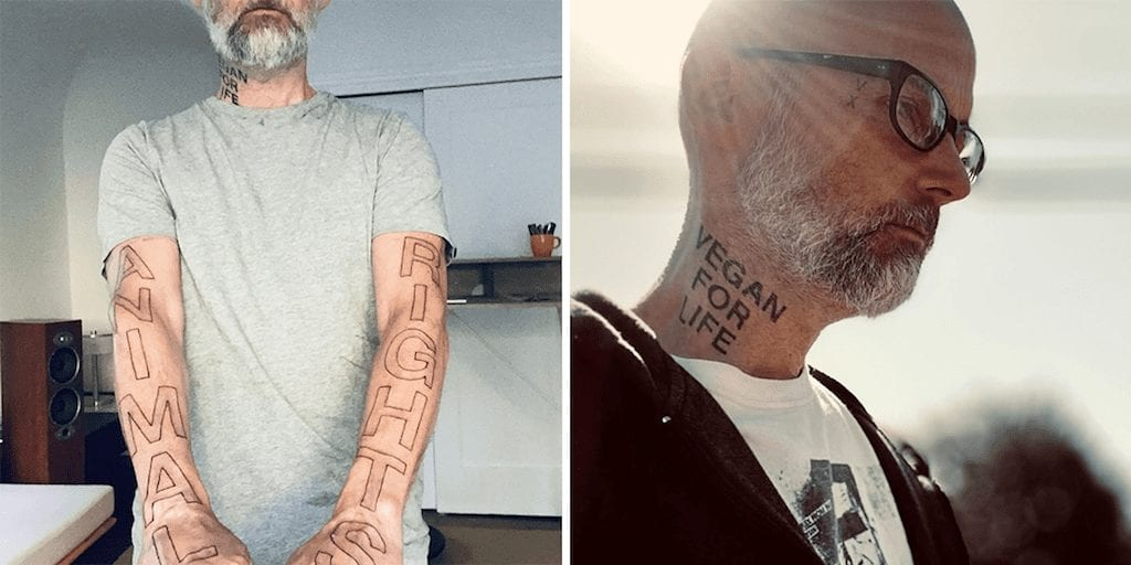 Moby Gets 'ANIMAL RIGHTS' tattooed down both his arms