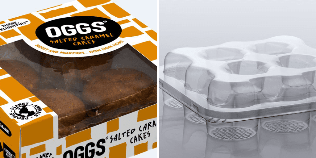 Bakery group Oggs teams up with Macpac for eco-friendly food trays, picture of oggs cakes and recyclable tray