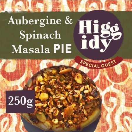 Aubergine and spinach masala pie created by Higgidy in packaging.