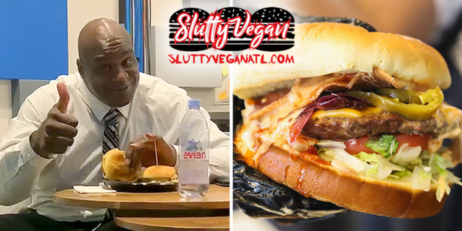 Shaquille O'Neal devours two vegan burgers at Atlanta's Slutty Vegan
