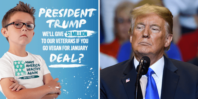 Trump to secure a $1 million donation for veterans, if he goes vegan. Photo of Evan from the campaign by Million Dollar Vegan and a photo of Donald Trump