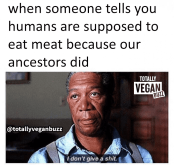 When someone tells you humans are supposed to eat meat because our ancestors did