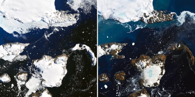 Shocking NASA images reveal huge ponds of melted ice from Antarctica's 'hottest days on record'