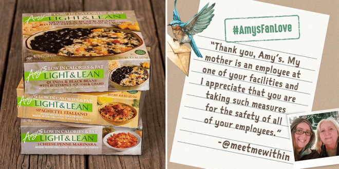 Amy's Kitchen donates 150,000 vegan meals to food banks and 6,000 masks to hospitals amid COVID-19 crisis