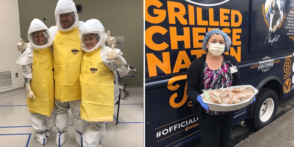 Miyoko's truck is distributing vegan grilled cheese sandwiches to healthcare workers amid coronavirus crisis