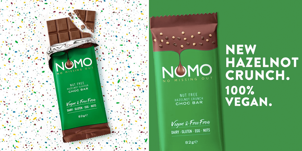 NOMO just launched vegan nut-free 'Hazelnot' chocolate crunch bar