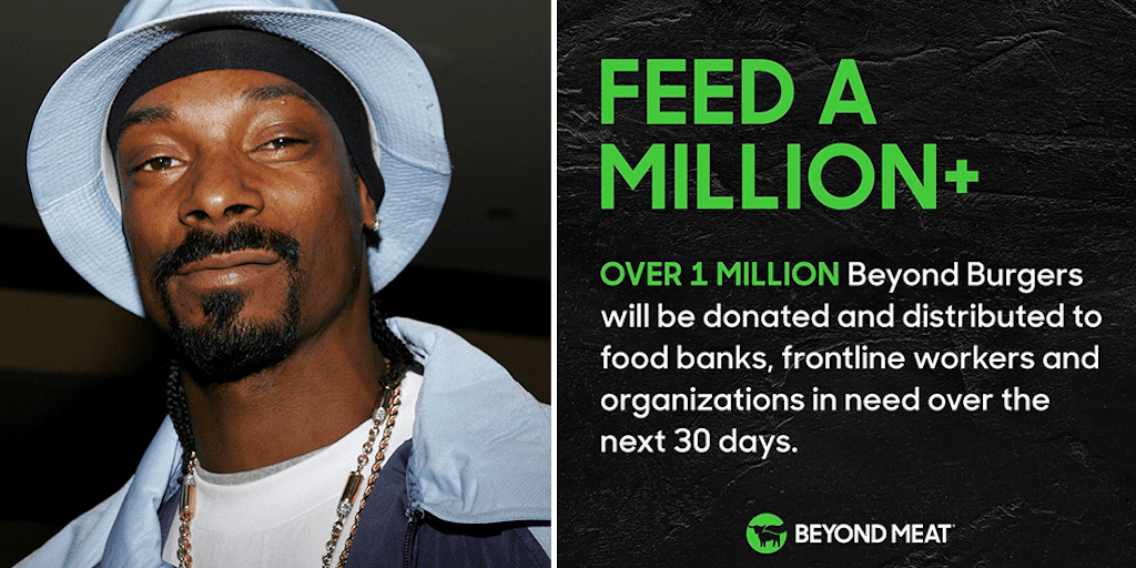 Snoop Dogg is helping Beyond Meat donate 1 million burgers to frontliners
