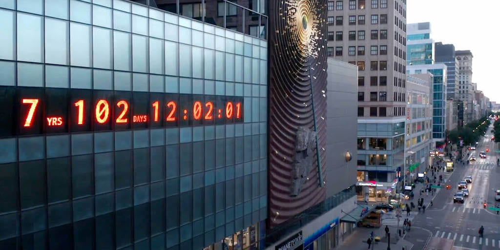 New York's giant clock counting down the time remaining for a climate meltdown