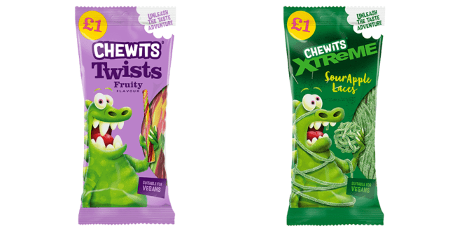 UK's no 1 chew stick brand just launched vegan Chewits laces range