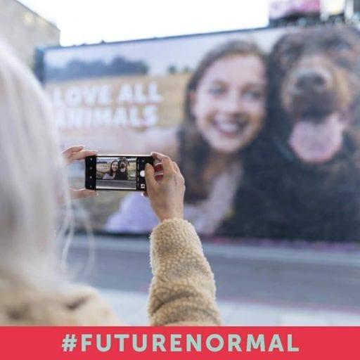 Gigantic 'Future Normal' billboard in London urges people to go vegan