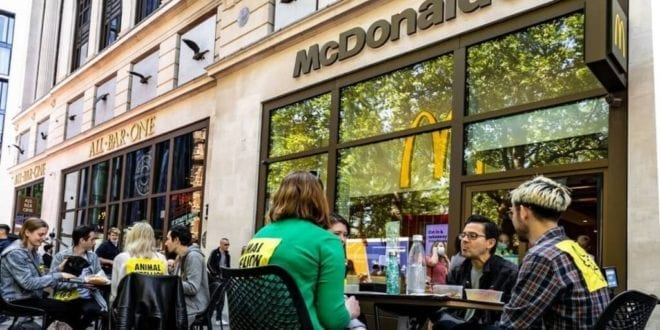 Vegan protestors to continue 'direct action' at McDonald's outlets as chain urged to go plant-based.